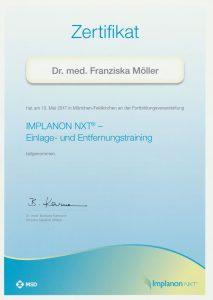 Zertifikat Implanon NXT