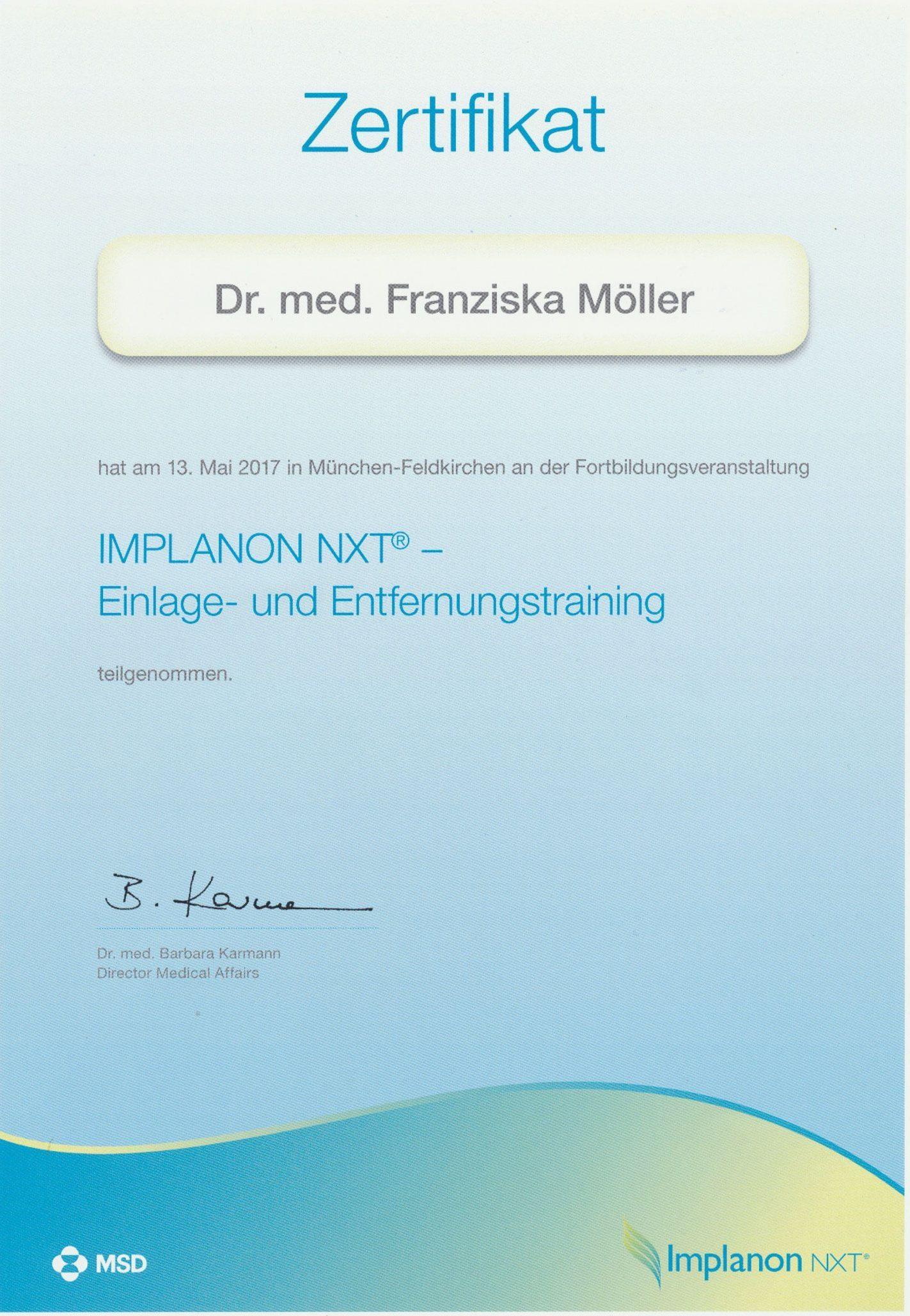 Zertifikat Qualifizierung Weiterbildung Implanon Einlage- und Entfernung