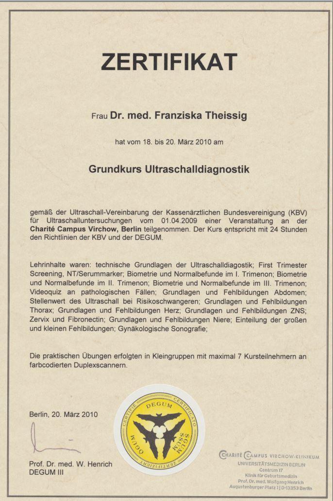 Zertifikat Qualifizierung Weiterbildung DEGUM Grundkurs Ultraschall