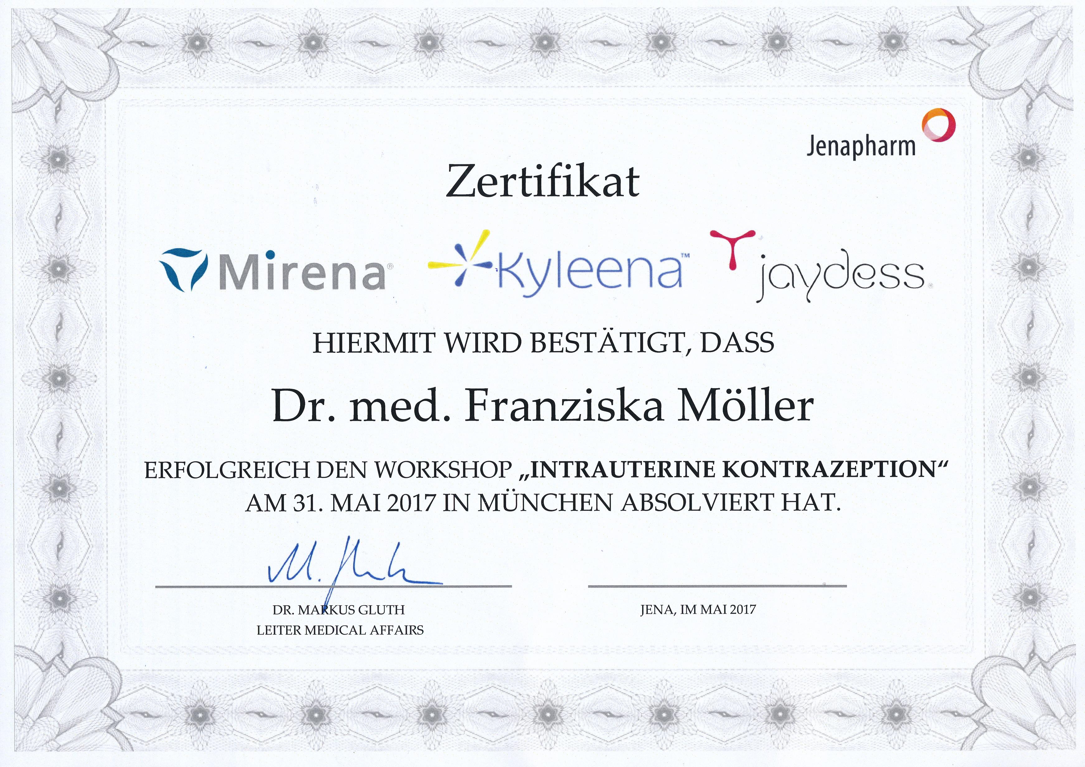 Zertifikat Qualifizierung Weiterbildung Mirena Kyleena jaydess