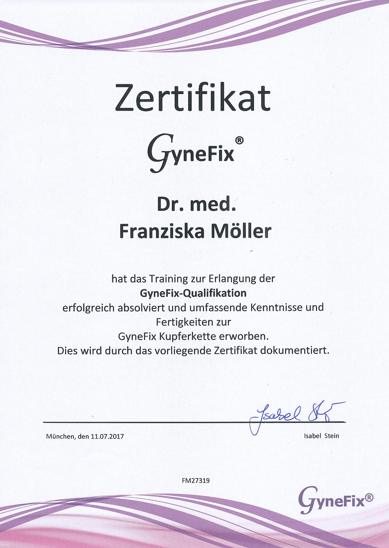 Zertifikat Qualifizierung Weiterbildung Gynefix Kupferkette