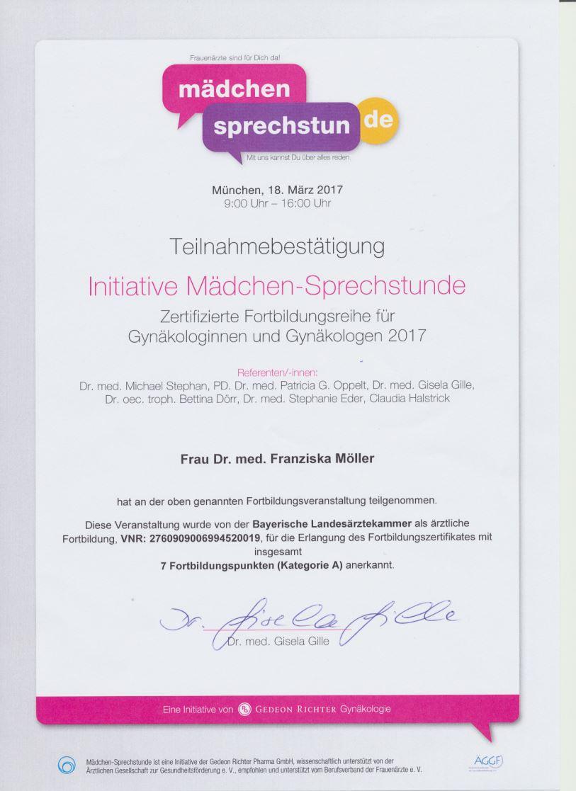 Zertifikat Qualifizierung Weiterbildung Inittiative Mädchensprechstunde